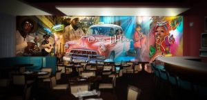 wide format printed wall mural in restaurant