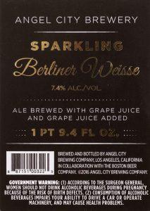 Angel City Brewery Sparkling Berliner Weisse label