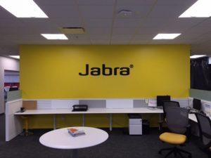 large format print job of Jabra logo