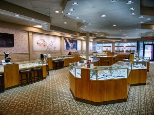 interior of jewelry store with wall coverings