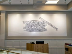 large format printed wall covering of diamond ring stack