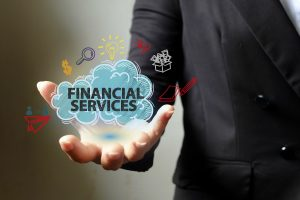 man holding financial services infographic